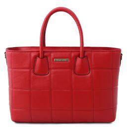 TL Bag Handtasche aus weichem Leder im Steppdesign Lipstick Rot TL142124