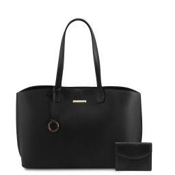 Pantelleria Borsa shopping in pelle e portafoglio in pelle 3 ante con portaspiccioli Nero TL142157
