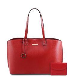 Pantelleria Borsa shopping in pelle e portafoglio in pelle 3 ante con portaspiccioli Rosso Lipstick TL142157