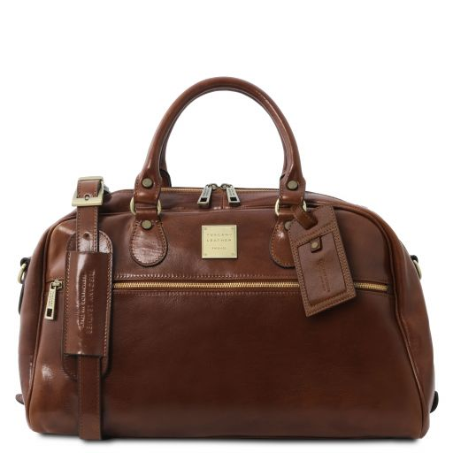 TL Voyager Travel leather bag- Small size Brown TL141405