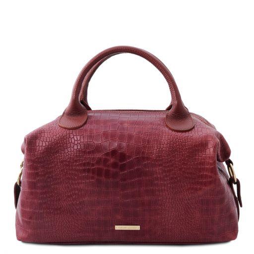 TL Bag Maxi bauletto in pelle morbida stampa cocco Bordeaux TL142121