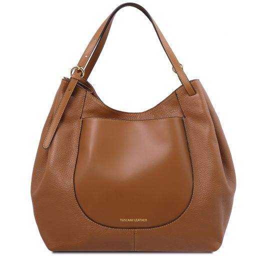 Cinzia Soft leather shopping bag Cognac TL142144