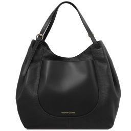 Cinzia Shopping Tasche aus weichem Leder Schwarz TL142144