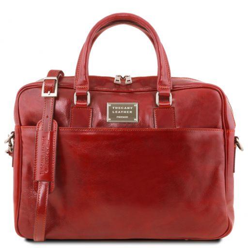 Urbino Cartable en cuir porte ordinateur avec poche frontale Rouge TL141241