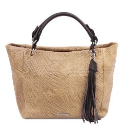 TL Bag Borsa shopping in pelle stampa intrecciata Beige TL142066