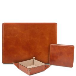 Premium Office Set Sous-main de bureau avec rabat, tapis de souris et videpoches en cuir Miel TL142162