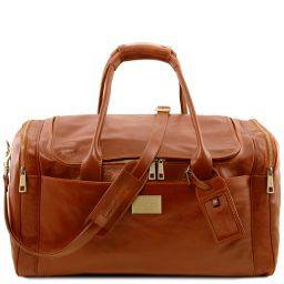 TL Voyager Sac de voyage en cuir avec poches aux côtés - Grand modèle Miel TL142135