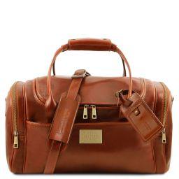 TL Voyager Sac de voyage en cuir avec poches aux côtés - Petit modèle Miel TL142142