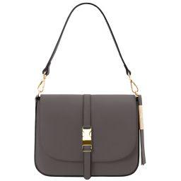 Nausica Leather shoulder bag Серый TL141598