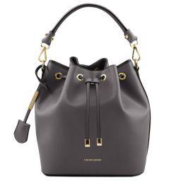 Vittoria Leather bucket bag Серый TL141531