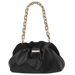 TL Bag Pochette in pelle morbida con tracolla a catena Nero TL142184
