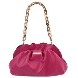 TL Bag Pochette in pelle morbida con tracolla a catena Fucsia TL142184
