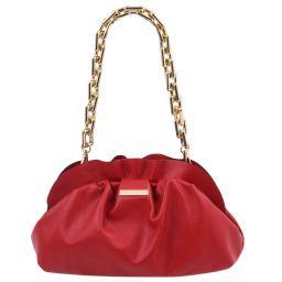 TL Bag Pochette in pelle morbida con tracolla a catena Rosso Lipstick TL142184