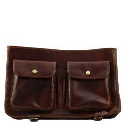 b2740d4f83 Ancona TL10025 Leather messenger bag - Large size Dark Brown